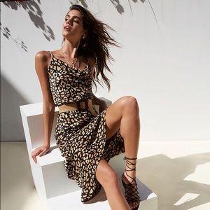 Abstract Leopard Cheetah Print Pattern Maxi Dress